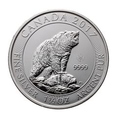 2017 Canada 1 1/2 Oz. Silver Grizzly Bears