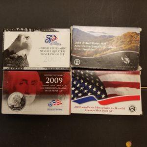 Random year Proof Silver Quarter sets
